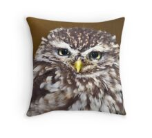 Little owl sat on a branch Throw Pillow