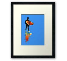 Surfing - Red Framed Print