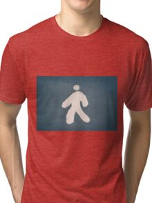 Walking person sign on the ground Tri-blend T-Shirt