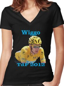 Bradley Wiggins - Tour de France 2012 Women's Fitted V-Neck T-Shirt