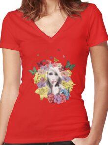 Secret Garden in Bloom T Shirt Women's Fitted V-Neck T-Shirt