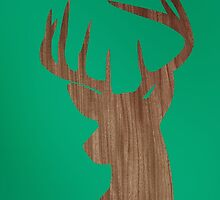 Wooden Deer silhouette in green space by mikath