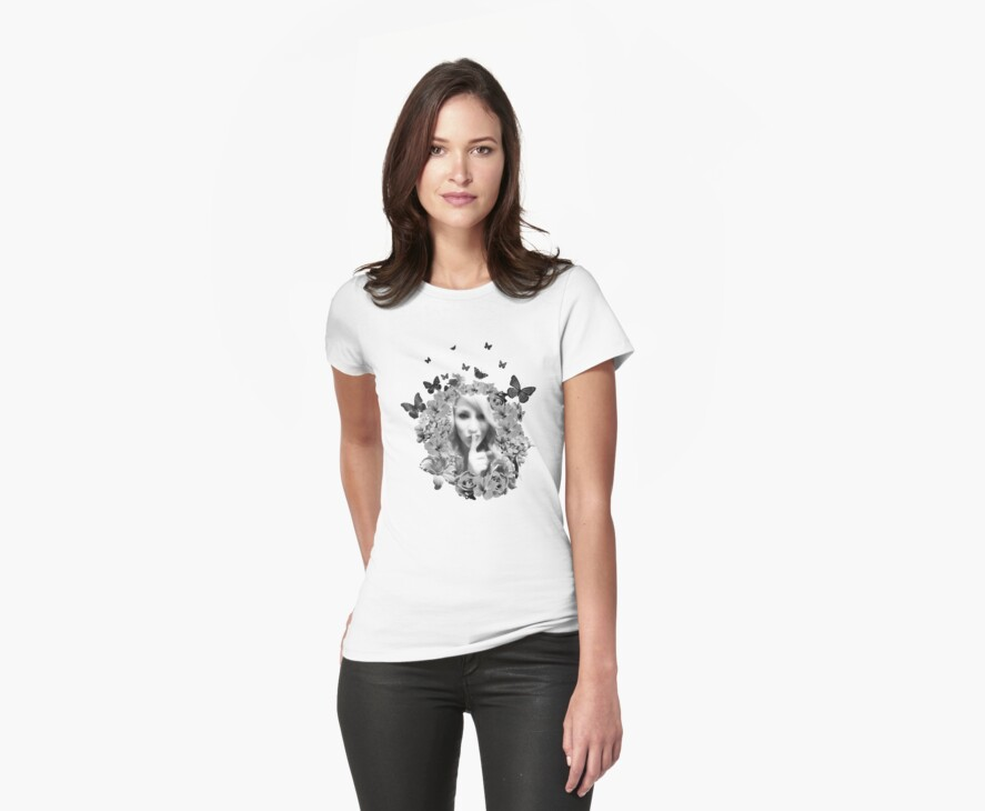 Secret Garden T Shirt in Black and White by Fangpunk