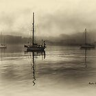 Three Boats In The Fog by manateevoyager