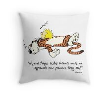 Calvin And Hobbes sleeping before Christmas Throw Pillow