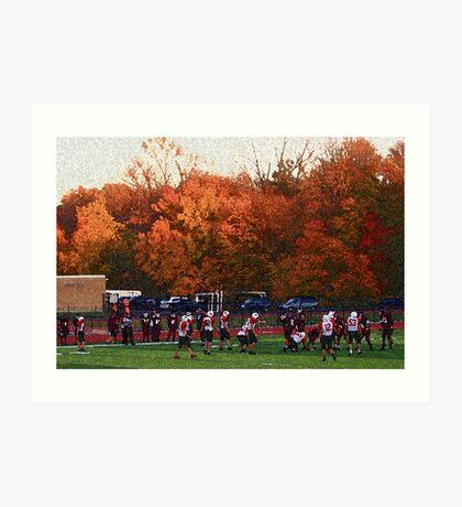 Autumn Football with Sponge Painting Effect Art Print