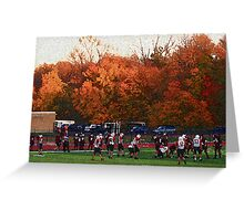 Autumn Football with Sponge Painting Effect Greeting Card