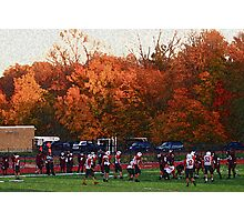 Autumn Football with Sponge Painting Effect Photographic Print
