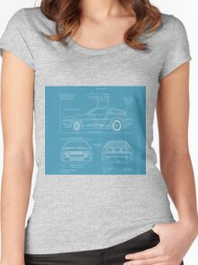 BTTF DELOREAN DRAWINGS Women's Fitted Scoop T-Shirt