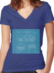 BTTF DELOREAN DRAWINGS Women's Fitted V-Neck T-Shirt