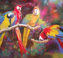 Four parrots by Howard Scherer