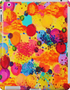 TIME FOR BUBBLY 2 - Fun Fiery Orange Red Whimsical Bubbles Bright Colorful Abstract Acrylic Painting by EbiEmporium