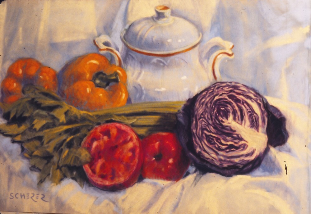 Still life with white pot by Howard Scherer