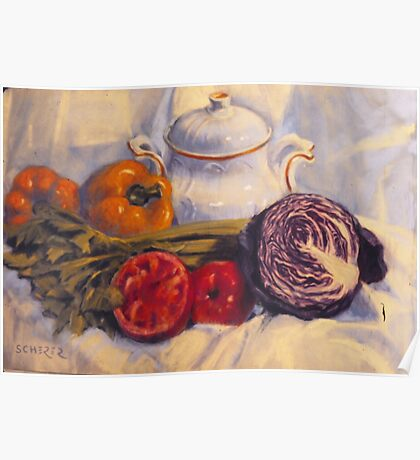 Still life with white pot Poster