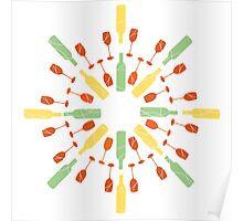 Circular brightly coloured wine pattern Poster
