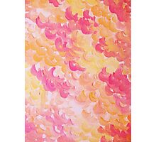 PINK PLUMES - Soft Pastel Wispy Pretty Peach Melon Clouds Strawberry Pink Abstract Acrylic Painting  Photographic Print