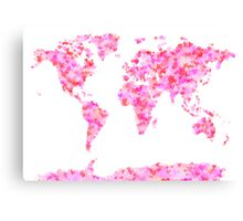 Love Hearts Map of the World Map Canvas Print