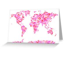 Love Hearts Map of the World Map Greeting Card