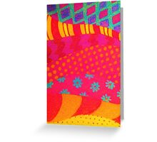 THE FASHIONISTA - Bright Vibrant Abstract Waves Mixed Media Whimsical Fashion Fabric Pattern Greeting Card