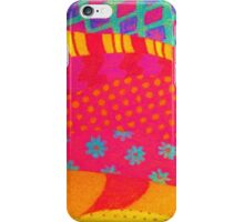 THE FASHIONISTA - Bright Vibrant Abstract Waves Mixed Media Whimsical Fashion Fabric Pattern iPhone Case/Skin