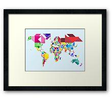 Tangram Abstract World Map Framed Print