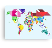 Tangram Abstract World Map Canvas Print
