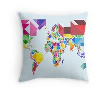 Tangram Abstract World Map Throw Pillow