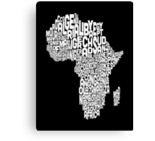 Map of Africa Map Text Art Canvas Print