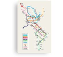 Americas Metro Map Canvas Print