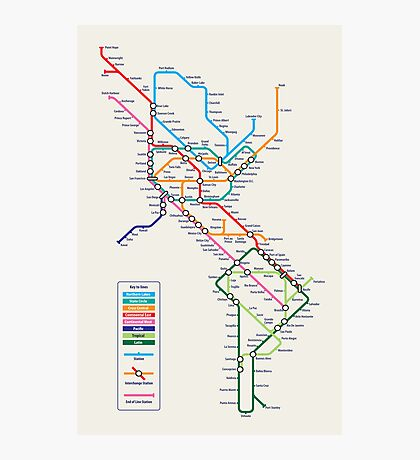 Americas Metro Map Photographic Print