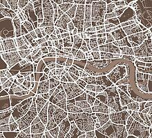London Map Coffee Brown by Michael Tompsett