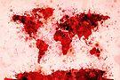 World Map Paint Splashes Red by Michael Tompsett