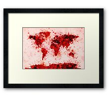 World Map Paint Splashes Red Framed Print