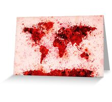 World Map Paint Splashes Red Greeting Card