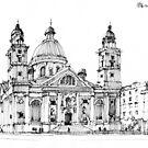 Chiesa A Genova Carignano by Luca Massone  disegni