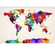 Map of the World Map Abstract Painting Photographic Print