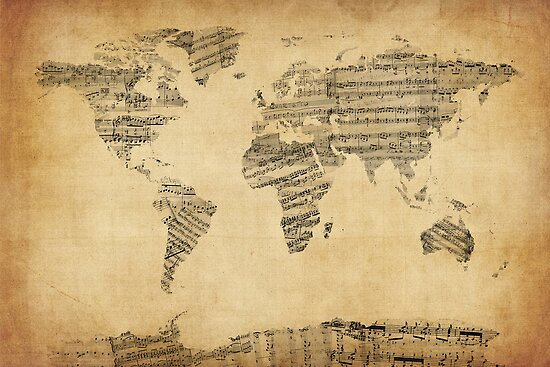 Map of the World Map from Old Sheet Music by ArtPrints