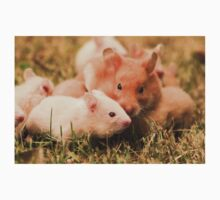Golden hamster with her young litter on the lawn One Piece - Short Sleeve