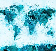 World Map Paint Splashes Blue by Michael Tompsett