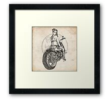 Motorcycle Girl Pinup Girl Sketch Framed Print