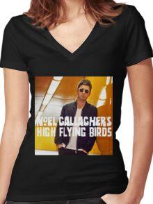 NOEL HIGH FLYING BIRDS Women's Fitted V-Neck T-Shirt