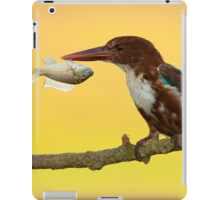 White-throated kingfisher with a fish in its beak iPad Case/Skin