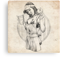 Coffee Girl Pinup Girl Sketch Canvas Print