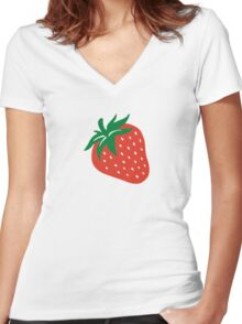 Red strawberry Women's Fitted V-Neck T-Shirt