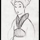 Geisha - original pencil drawing on paper by Rebecca Rees
