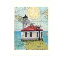 Lime Kiln Lighthouse WA Nautical Map Cathy Peek Art Print