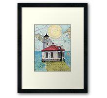 Lime Kiln Lighthouse WA Nautical Map Cathy Peek Framed Print