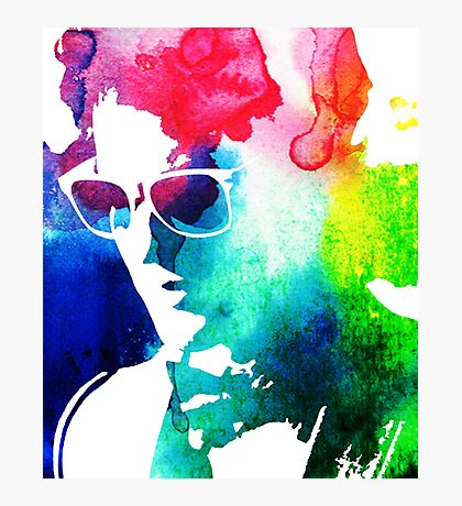 rainbow glasses profile Photographic Print