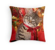 Christmas Kitten Throw Pillow