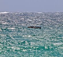 Solitary Boat in the Waves by Alastair Creswell